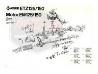 ETZ 150 EXPLOSIONSZEICHNUNG VOM MOTOR ETZ150