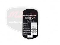 SIMSON 250 TYPSCHILD /425S/