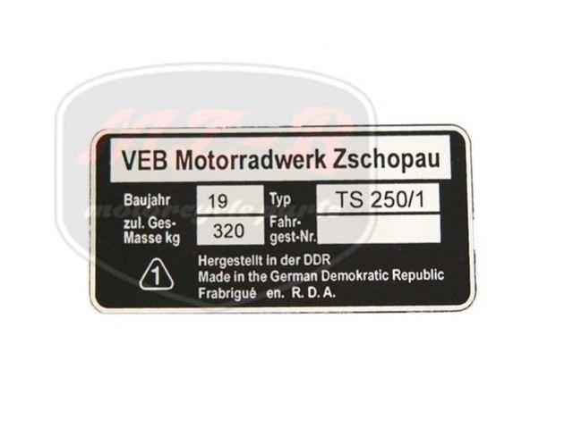 MZ/TS 250/1 TYPSCHILD /TS250/1/
