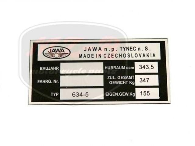 JAWA 350  6V TYPSCHILD /634-5/