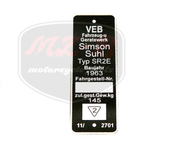 SIMSON SR2E TYPSCHILD /SR2E/